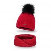 Komplet PaMaMi, czapka i komin - Czerwony