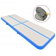 vidaXL Надуваем дюшек за гимнастика с помпа, 400x100x20 см, PVC, син