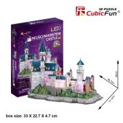 Cubicfun Castelul Neuschwanstein cu LED Puzzle 3D 128 de piese