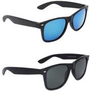 Zyaden Blue UV Protection Wayfarer Unisex Sunglasses (Pack of 2)