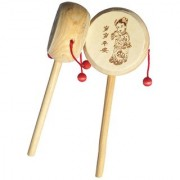 BuzyKart Wooden Rattle Drum Instrument Musical Toy For Kids (Set Of 2)