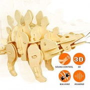 Robotime DIY Wooden Dinosaur 3D Puzzle Mini Stegosaurus Robot Toy for Boys and Girls