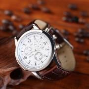 EY YAZOLE Cuarzo Del Negocio De La Moda 271 Elite Reloj Blu-ray Placa Blanca Luminosa Cinturón Marrón-Blanco Marrón