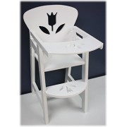 """18 Inch Doll Furniture Wooden Doll High Chair with Lift-Up Tray - (18"""" White Floral) Fits American Girls Dolls by Homeware"""