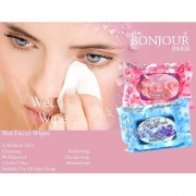 Bonjour Paris Refreshing Wet Facial Wipes - Ice Fresh And Rose