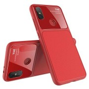 Lenuo LeJazz Xiaomi Mi A2 TPU Case met Gehard Glas Achterkant - Rood