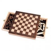 Trademark Games - Elegant Inlaid Wood Chess Cabinet w/ Staunton Wood Chessmen