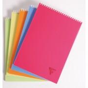 Exacompta Clairefontaine Clairefontaine Schreibblock kariert DIN A4 80 Blatt Doppelspirale PP Deckel Pink