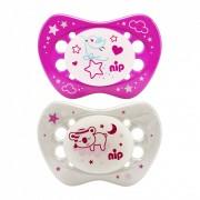 Nip Night szilikon éjszakai világító játszócumi 0-6 hó 2 db (rózsaszín,fehér) - madár, maci