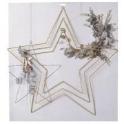 Merkloos 3x DIY stervormige eucalyptus/bloemen krans/hangers set goud