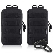 FUNANASUN 2 Pack Molle Pouches Tactical Compact Water Resistant EDC Pouch (Black)