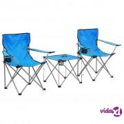 vidaXL 3-dijelni set stola i stolica za kampiranje plavi