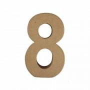 Rayher hobby materialen Beschilderbare cijfer 8 van papier mache