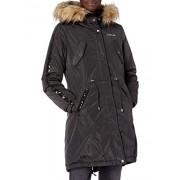 BeBe Women's Outerwear BeBe chamarra de chamarra para mujer, Anorak de piel sintética, color negro, L