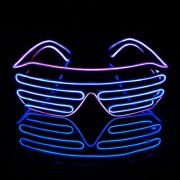 Ichase Led Light up Neon Shutter Party Glasses for Parties Decorations(Purple+Blue)