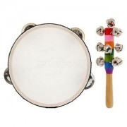 Alcoa Prime 2Pcs/Set Hand Percussion Tambourine Drum w/ Jingle Rattle Music Instruments