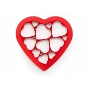 Lékué szív-puzzle sütikiszúró forma, piros színben