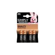 Duracell 4x Duracell AA Simply batterijen alkaline LR6 MN1500 1.5 V