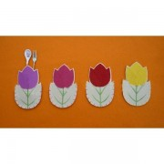 4Pcs Easter Decorations Flower Silverware Holders Easter Home Decor