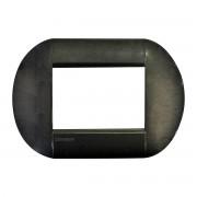 BTicino Placca 3 Moduli Arrotondata Acciaio In Metallo Bticino Living International
