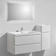 Hängende Badmöbel in Weiß Hochglanz LED Beleuchtung (3-teilig)