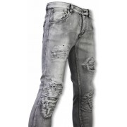 New Stone Exclusieve Jeans - Slim Fit Ripped Premium Jeans - Grijs