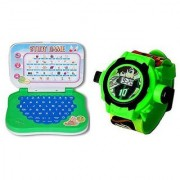 VEEJEE Mini Educational Learning Laptop And Ben10 Projector Watch For Kids.
