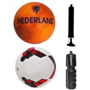 Combo of Nederland Orange + Premier League Red/Purple Football (Size-5) with Air Pump & Sipper