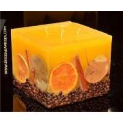 Designkaarsen com Fruit Kaars Vierkant Groot GEEL, 4 PITTEN, XXL - kaarsen