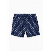 Mens Next Shark Print Swim Shorts - Navy