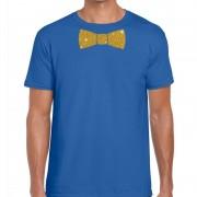 Bellatio Decorations Vlinderdas t-shirt blauw met glitter das heren M - Feestshirts