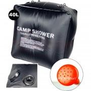 Dus solar pentru camping 40L cu perdele negre din PVC