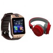 Zemini DZ09 Smart Watch and SH 12 Bluetooth Headphone for SAMSUNG GALAXY GALAXY CORE MAX(DZ09 Smart Watch With 4G Sim Card Memory Card| SH 12 Bluetooth Headphone)