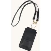 IPhone Sling+ - telefoontasje dames crossbody - verstelbare schouderband - halskoord- zwart leder -