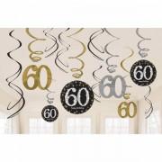 Hangdecoratie 60 jaar stijlvol zwart-goud-zilver