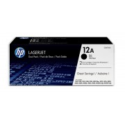 HP 12A 2-pack Black Dual Pack LaserJet Toner Cartridges (Q2612AD)