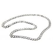 ARGENTO 925 : Collana o Bracciale uomo catena da 7,8 mm grumetta grumettone sbiancata (Collana 60 cm)
