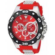 Invicta Watches Invicta Men's 'Pro Diver' Quartz Stainless Steel and Polyurethane Casual Watch ColorTwo Tone (Model 24679) RedTwo Tone