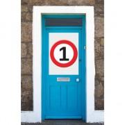 Merkloos 1 jaar verkeersbord deurposter A1
