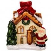 Suport lumanare decorativ crem maro casa poveste mos craciun ceramica
