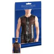 Svenjoyment Powernet Zipper Leather Muscle Top T Shirt Black 2160935