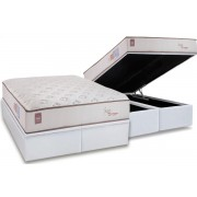 Conjunto Box Baú - Colchão Orthocrin de Molas Pocket Sense Euro Top Pró Saúde + Cama Box Baú Courino Bianco - Conjunto Box Queen Size - 158 x 198