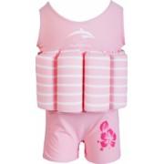 Costum inot copii cu sistem de flotabilitate ajustabil Konfidence pink stripe 4-5 ani