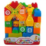 Building Blocks Play Learn Set Learning Blocks For Kids With Cartoon Figures Bag Packing Best Gift Toy Multi color (S