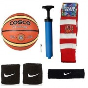 Cosco Challenge Basketball (Size-5) with Air Pump Black Head Band Free Pair of Wrist Band Soccer Socks
