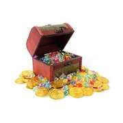 Trekids Pirate Treasure A Treasure Chest and 50pcs Plastic Play Gold Coins and about 50pcs Acrylic Diamond Gems Jewels for Kids for Hunt Party Favors