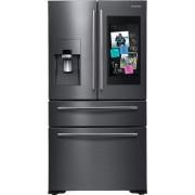 Samsung - Family Hub 27.7 Cu. Ft. 4-Door French Door Fingerprint Resistant Refrigerator - Black stainless steel