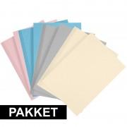 Geen 16x A4 hobby karton lichtblauw/grijs/lichtroze/beige