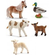 My First Farm Set of Babies SCHLEICH Set of 6 Farm Life Bagged Together Ready to Give Donkey, Goat, Cow, Piglet, Lamb, Cat