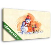 A kis Mikulás ajándéka a Hóembernek (45x25 cm, Vászonkép )